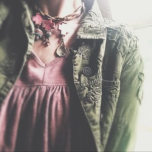 Embroidered Detail Slouchy Army Green Jacket
